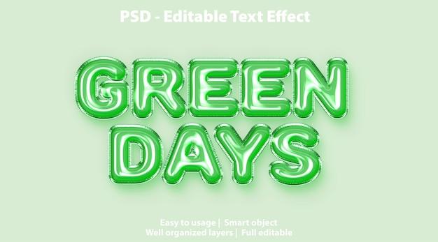 Редактируемый текстовый эффект зеленые дни