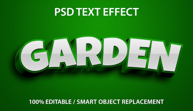 Editable text effect green garden