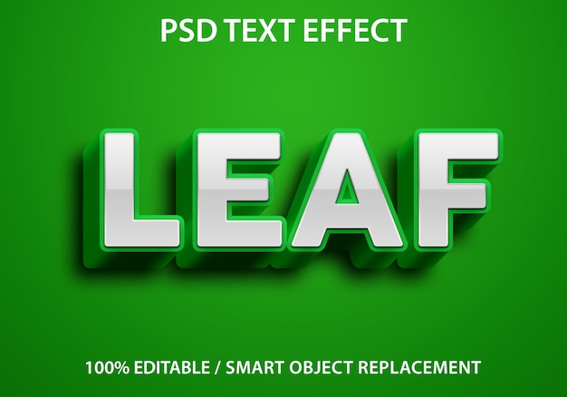 편집 가능한 텍스트 효과 녹색 잎