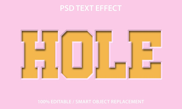 Editable text effect hole