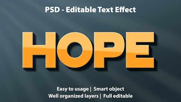 Редактируемый текстовый эффект надежды шаблон