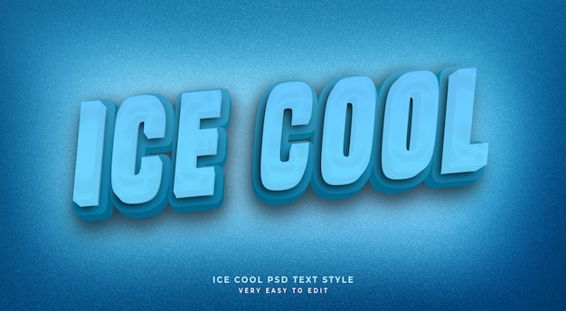 Editable text effect, ice cool 3d  text style
