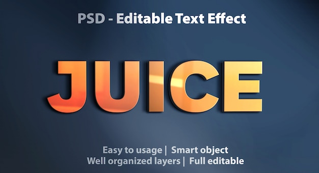 Editable text effect juice