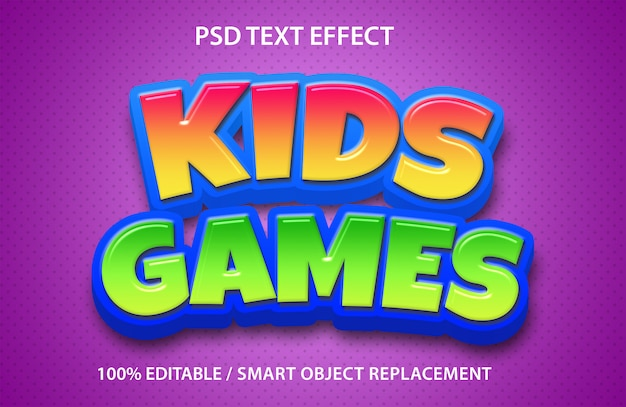 Editable text effect kids games