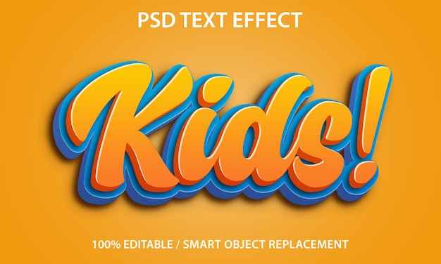 Editable text effect kids