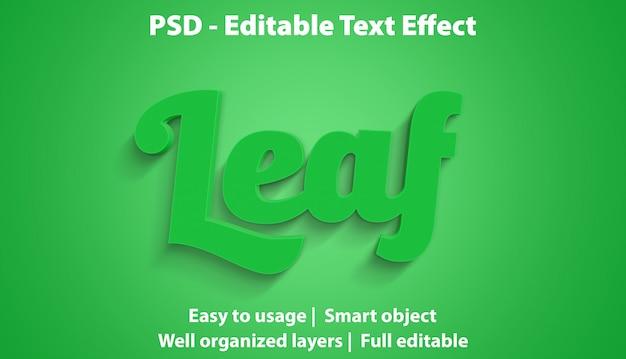 Редактируемый текстовый эффект leaf premium