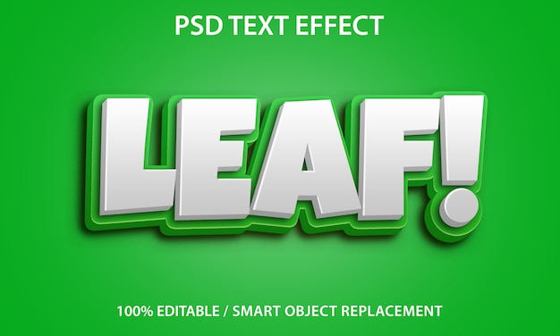 Editable text effect leaf