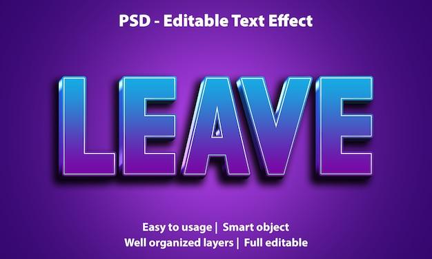 Редактируемый текстовый эффект leave