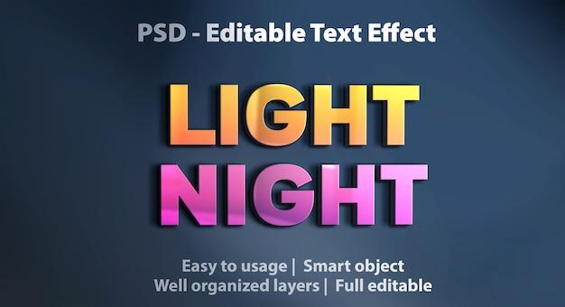 Редактируемый текстовый эффект light night