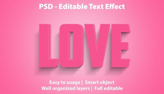 Редактируемый текстовый эффект love premium