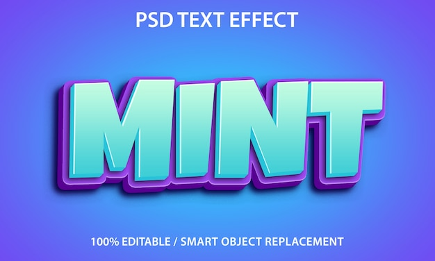 Editable text effect mint