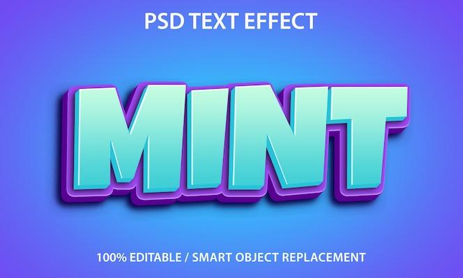 Editable text effect mint