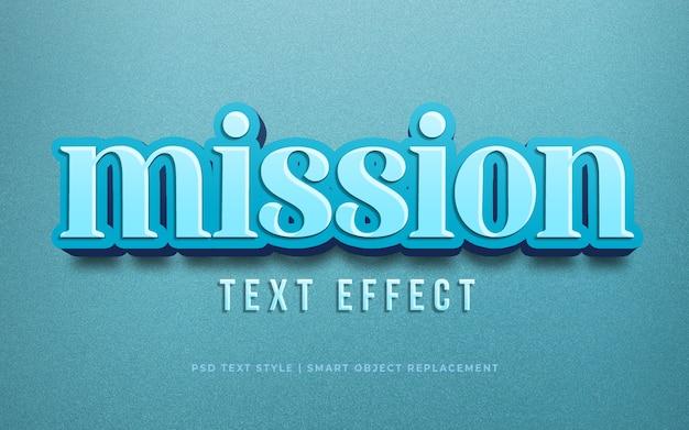 Редактируемый текстовый эффект, миссия 3d текстовый стиль, эффект макет psd