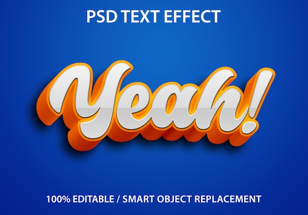 Editable text effect orange yeah