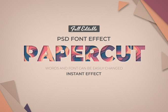 Editable text effect in paper style