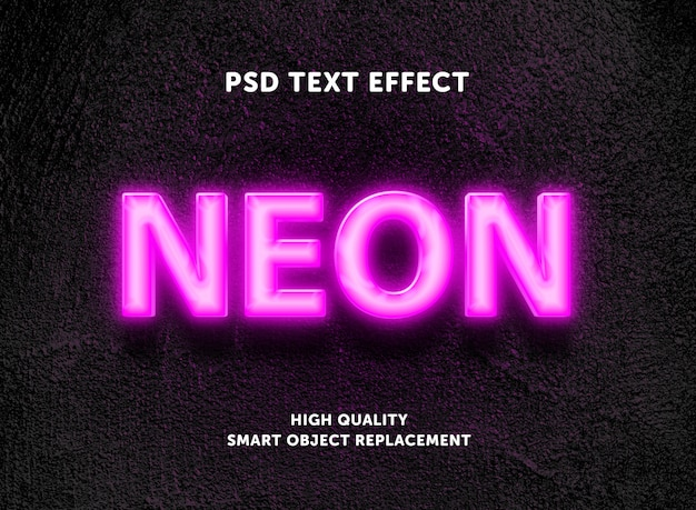 Editable text effect - pink neon box