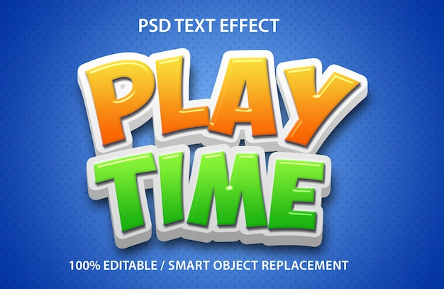 Editable text effect play time
