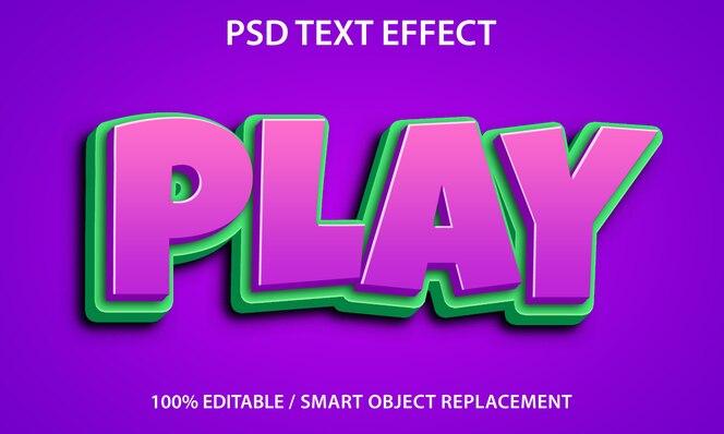 Editable text effect play