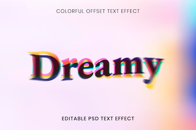 Editable text effect psd template, colorful offset font typography