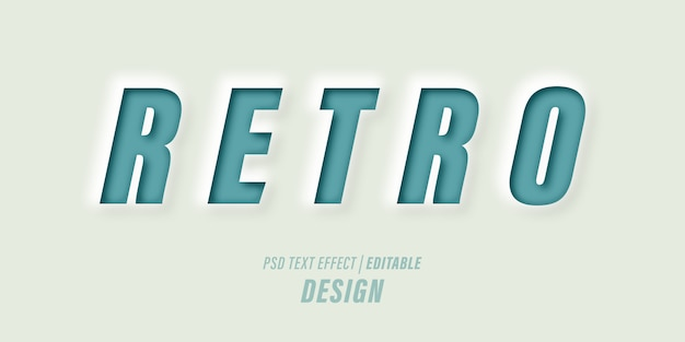 Editable text effect psd template with 3d papercut effects and vintage retro-themed.