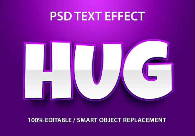 Editable text effect purple hug