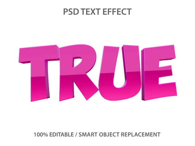 Editable text effect purple true