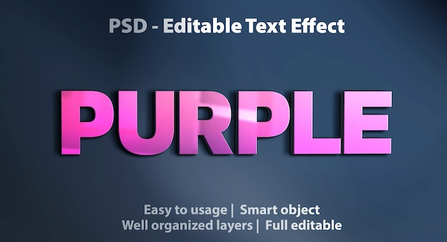 Editable text effect purple