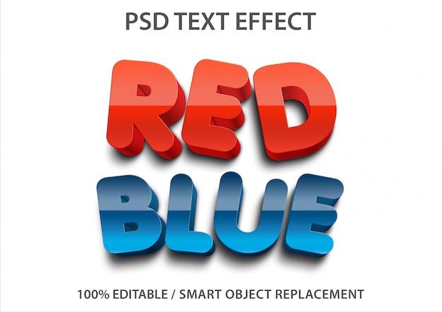 편집 가능한 텍스트 효과 빨간색과 파란색