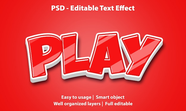 Editable text effect red play premium
