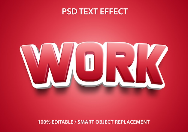 Editable text effect red work