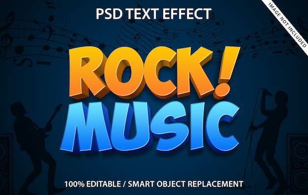 Editable text effect rock music