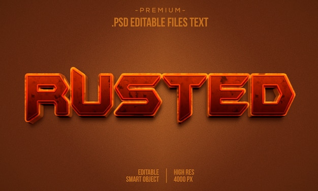 Editable text effect - rusting text style, rusted metal text effect, copper metal text effect