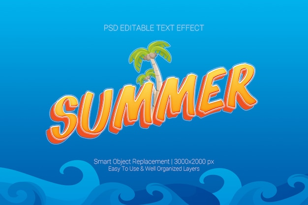 Editable text effect of summer concept in orange blue colour scheme