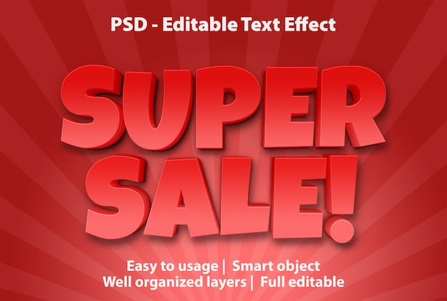 Редактируемый текстовый эффект супер распродажа