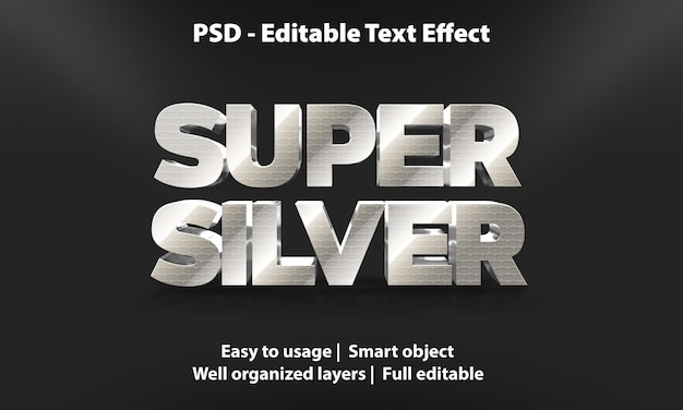 편집 가능한 텍스트 효과 슈퍼 실버 프리미엄