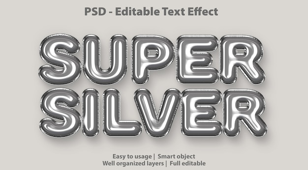 Editable text effect super silver