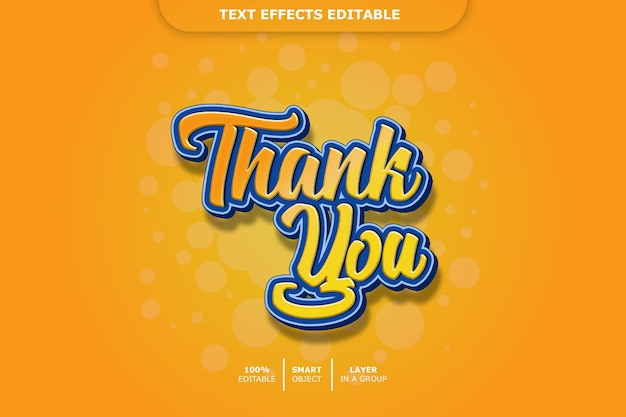 Editable text effect - thank you