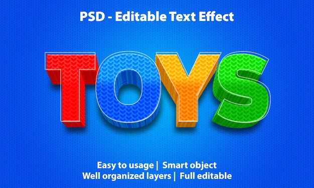 편집 가능한 텍스트 효과 장난감 프리미엄