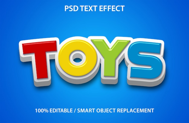 Editable text effect toys