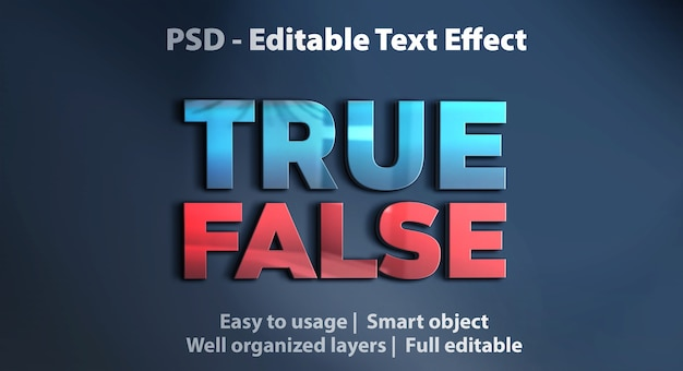 Editable text effect true false