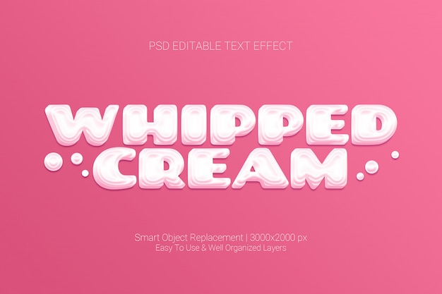 Editable text effect of whipped cream sweet pink concept