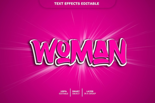 편집 가능한 텍스트 효과-여자