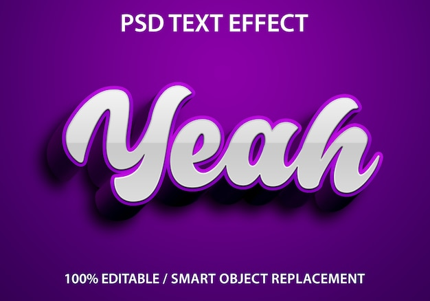 Editable text effect yeah purple premium