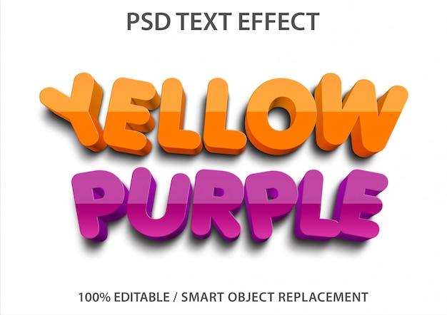 Редактируемый текстовый эффект желтый и фиолетовый