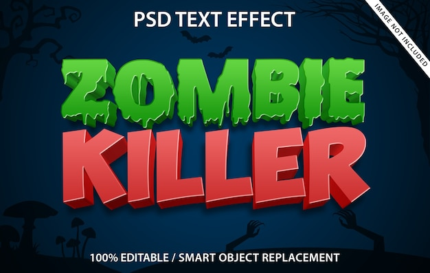 Editable text effect zombie killer