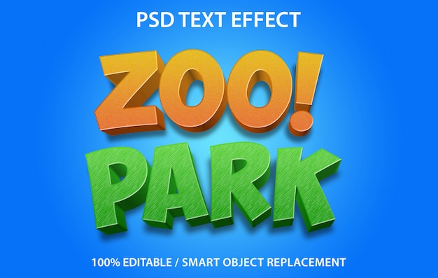 Editable text effect zoo park