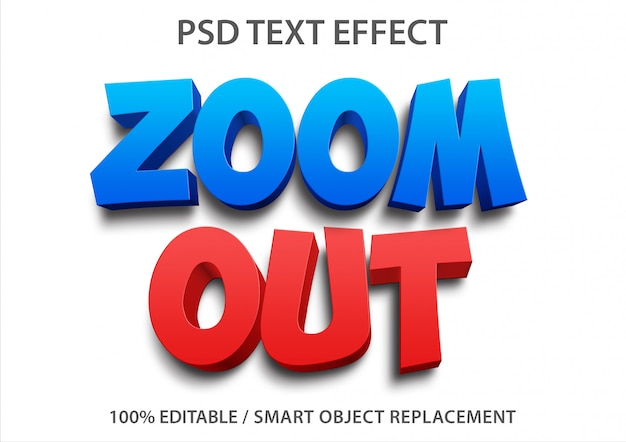 Editable text effect zoom out