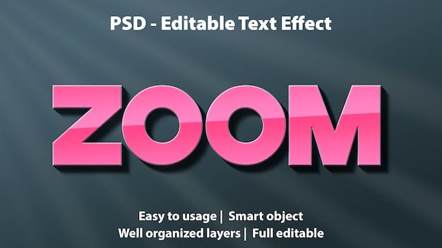 Editable text effect zoom