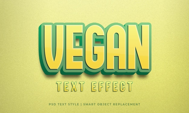 Editable text style psd effect with vegan yellow green color calligraphy mockup