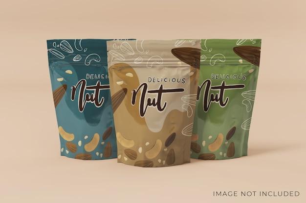 Редактируемый дизайн макета упаковки трех продуктов, вид спереди